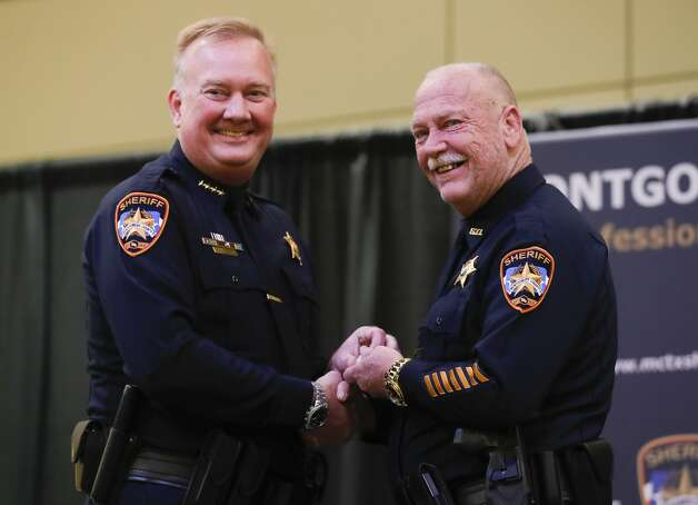 Keith Echols is awarded for his 30 years of service during the Montgomery County Sheriff's Office promotion and awards ceremony, Thursday, May 27, 2021, in Conroe. Photo: Jason Fochtman/Staff Photographer / 2021 © Houston Chronicle