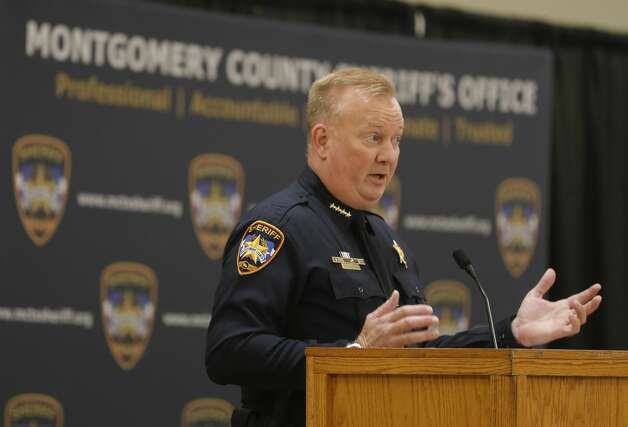 Montgomery County Sheriff Rand Henderson speaks during the Montgomery County Sheriff's Office promotion and awards ceremony, Thursday, May 27, 2021, in Conroe. Photo: Jason Fochtman/Staff Photographer / 2021 © Houston Chronicle