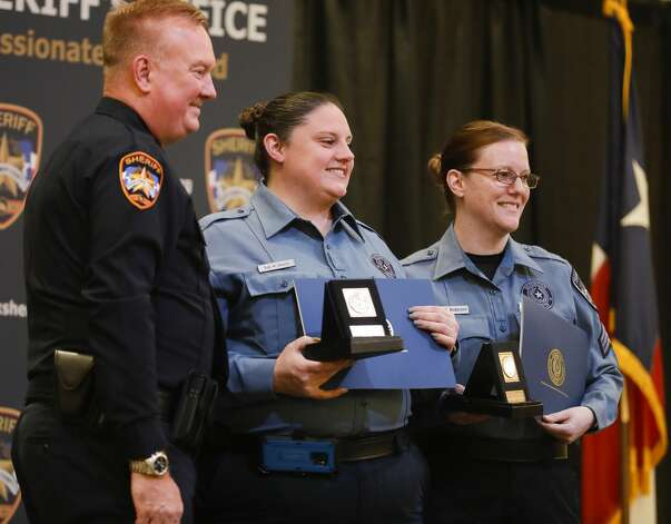 Detention Sergeants Kimberly Davis and Kimberly Anderson received of professional award during the Montgomery County Sheriff's Office promotion and awards ceremony, Thursday, May 27, 2021, in Conroe. Photo: Jason Fochtman/Staff Photographer / 2021 © Houston Chronicle