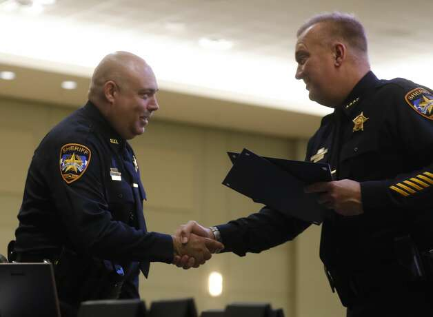 Specialist Steven Squier receives a compassionate award during the Montgomery County Sheriff's Office promotion and awards ceremony, Thursday, May 27, 2021, in Conroe. Photo: Jason Fochtman/Staff Photographer / 2021 © Houston Chronicle