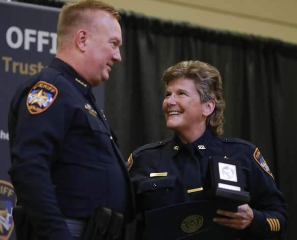 Detective Donna Rippley receive a compassionate award during the Montgomery County Sheriff's Office promotion and awards ceremony, Thursday, May 27, 2021, in Conroe. Photo: Jason Fochtman/Staff Photographer / 2021 © Houston Chronicle
