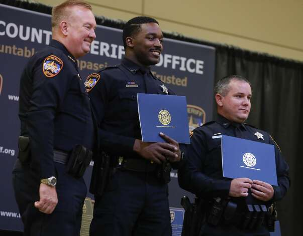 Deputies Devin Mayes and Bradley Gober receive a life saving award during the Montgomery County Sheriff's Office promotion and awards ceremony, Thursday, May 27, 2021, in Conroe. Photo: Jason Fochtman/Staff Photographer / 2021 © Houston Chronicle