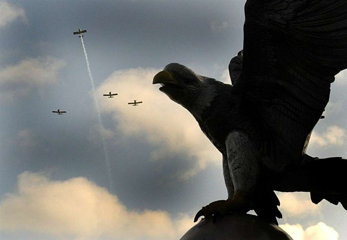 The Missing Man Formation flown over the Honor Flight Eagle Garden in Memory Park in Montgomery.