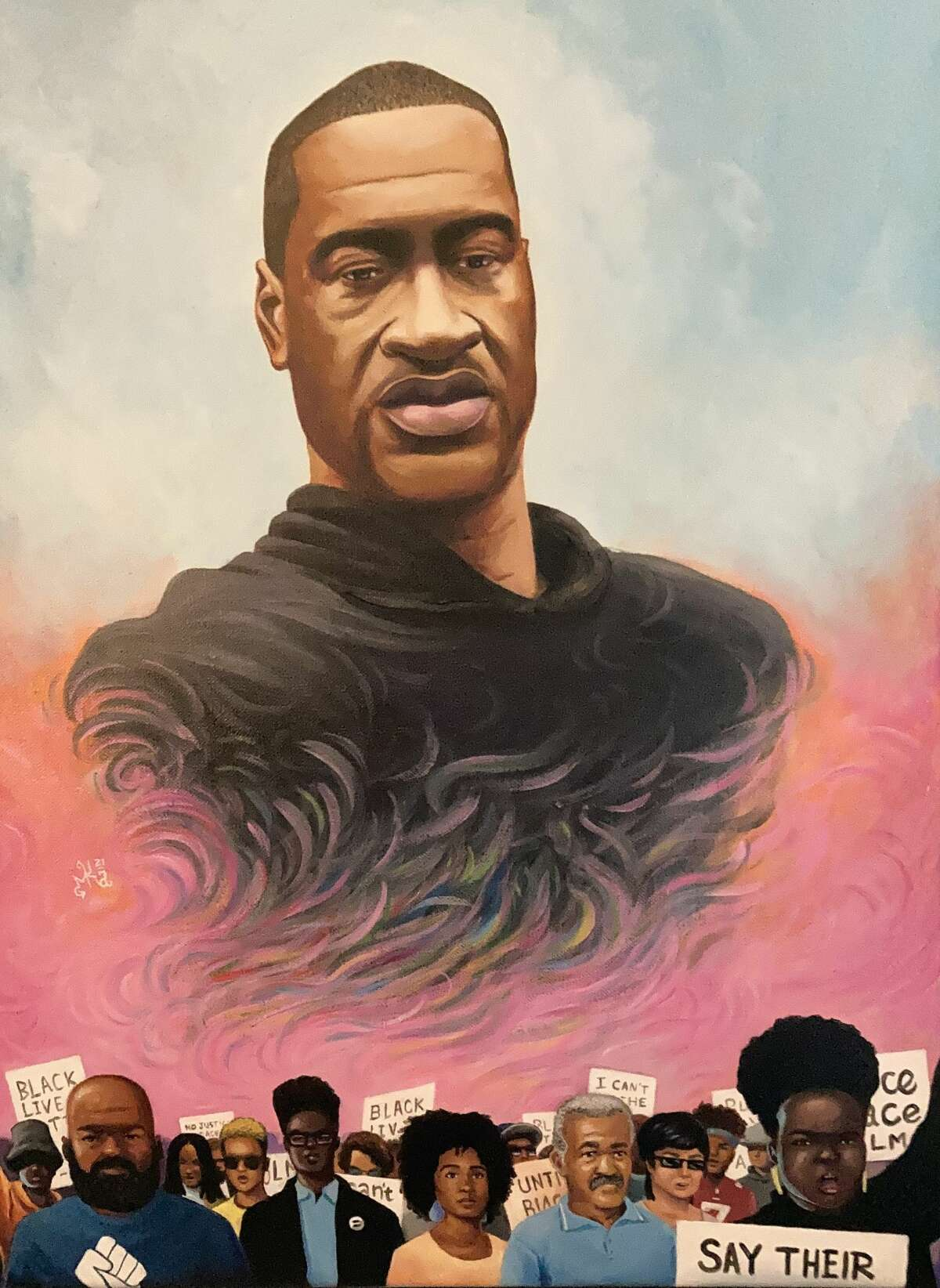 Marcus Anderson's portrait of George Floyd was the centerpiece for a memorial service planned by Ann Townsend of Greenwich to mark the anniversary of Floyd's murder.