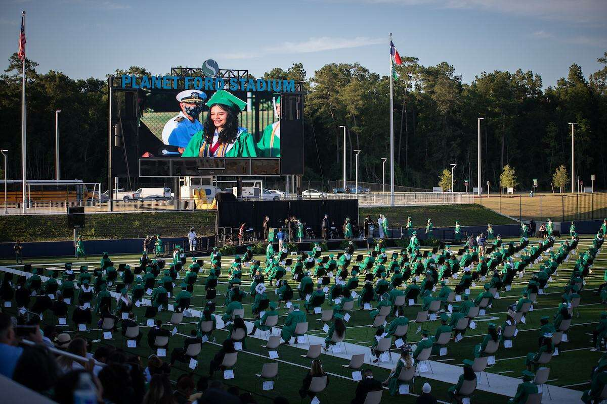 Graduates of Spring High School's Class of 2020 are celebrated during last year's graduation ceremony at Planet Ford Stadium.