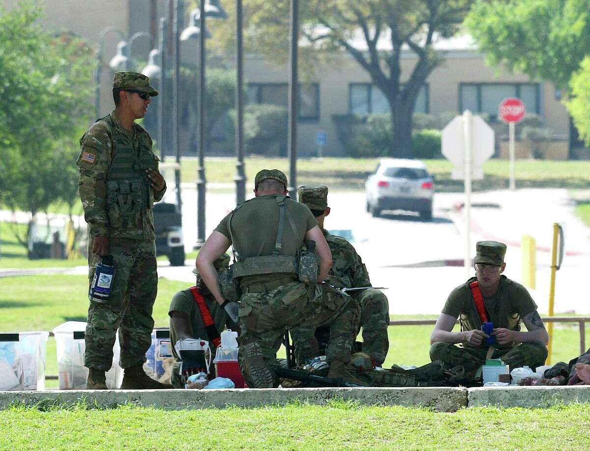 Combat medics train at Fort Sam Houston on March 25, 2020, just as the coronavirus was arriving in San Antonio. With the pandemic easing, trainees will be allowed off the post this weekend to visit the city's attractions - but not its bars.