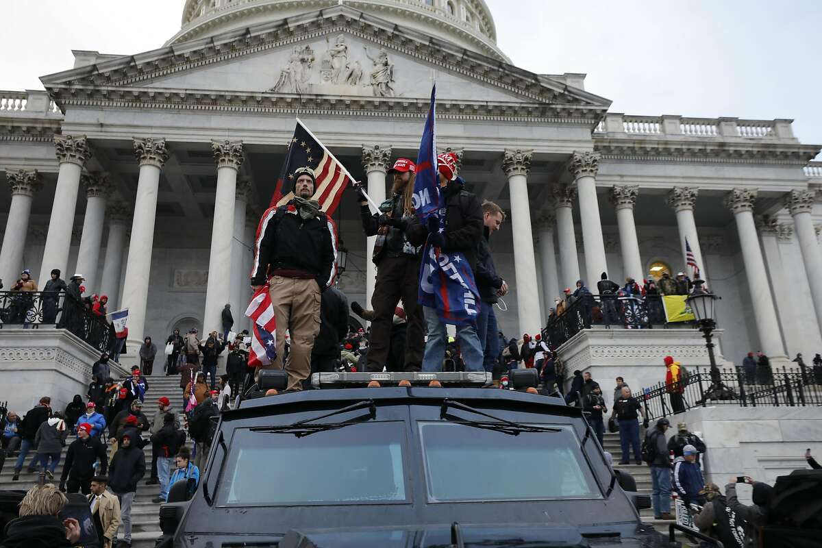 Supporters of President Donald Trump riot at the U.S. Capitol in Washington, D.C., on Wednesday, Jan. 6, 2021. (Yuri Gripas/Abaca Press/TNS)