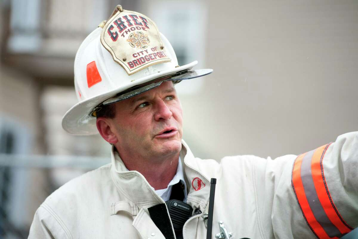 Fire Chief Richard Thode of the Bridgeport Fire Department at the scene of a fire in an unoccupied home on Hanover St. in Bridgeport, Conn. March 21, 2018.