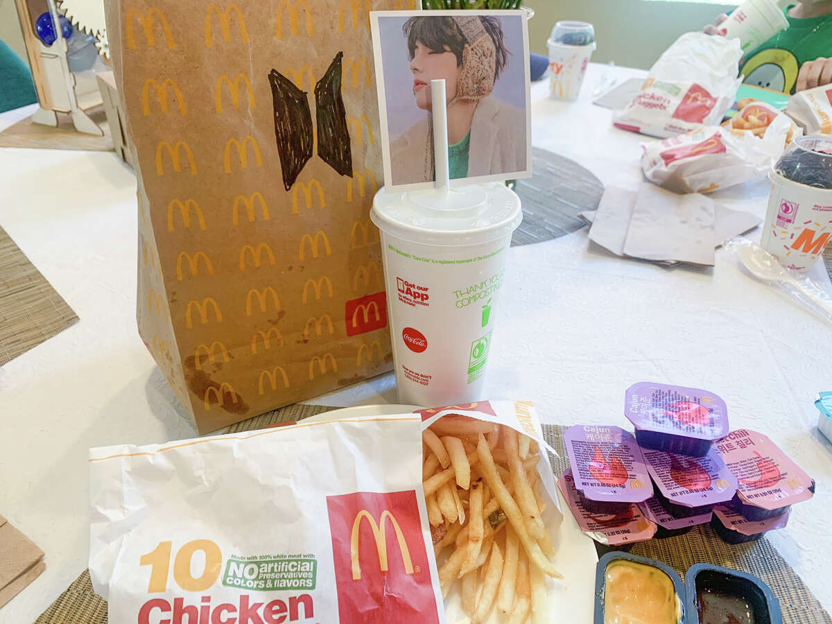 Valerie Villaraza-Steele and family went to a McDonald's in Alameda on Wednesday, March 26, 2021, to celebrate the release of the limited-time offer BTS meal.