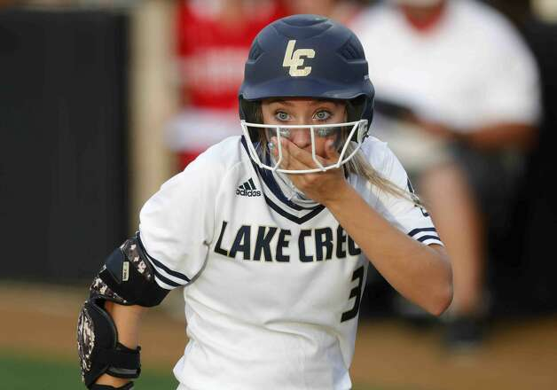 Payton Bauer #3 of Lake Creek reacts after a foul ball nearly hit Bre Hagerty during a one-game Region III-5A semifinal at Grand Oak High School, Thursday, May 20, 2021, in Spring. Photo: Jason Fochtman/Staff Photographer / 2021 © Houston Chronicle