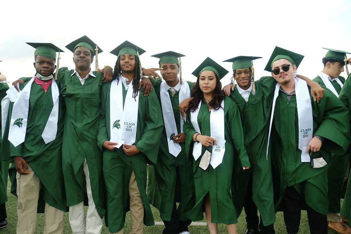 Members of the Stratford High School class of 2021 pose for a picture during the graduation ceremony at Darrell Tully Stadium on May 25