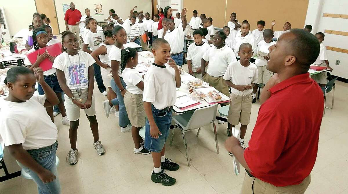 KIPP Tulsa College Preparatory Principal Millard House II, pictured in 2005, speaks to the inaugural class of fifth-graders at the new school during a special summer session. House, who is Houston ISD's lone superintendent finalist, has worked in three school districts across the south with at least 35,000 students.