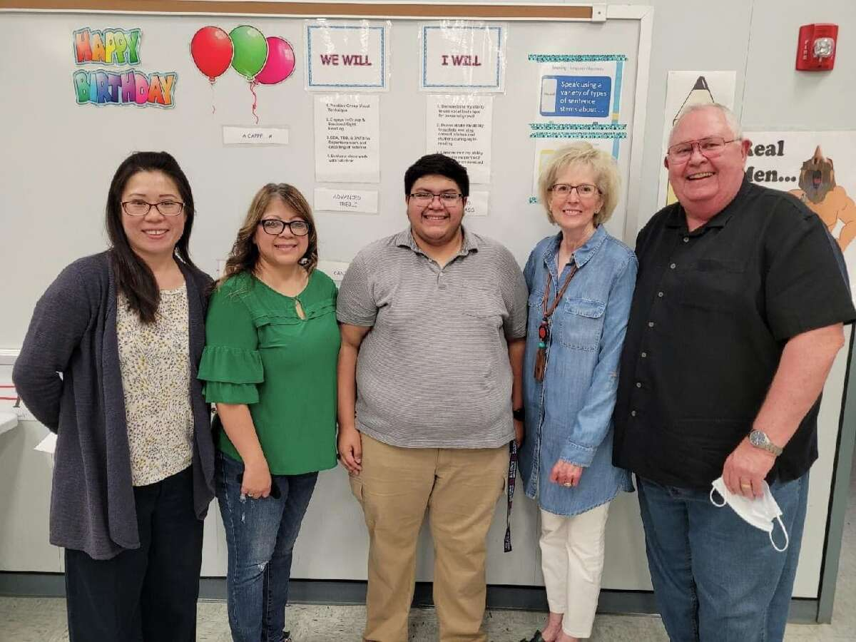 Caleb Aguirre, a recent Plainview High School graduate, is this year's recipient of the Clay R. Warren Memorial Scholarship, which is awarded annually through the Community Foundation of West Texas. Pictured (R-L): Jennie Hsu, head choir director, Laura Aguirre, Caleb Aguirre, Freada Warren and Mark Warren