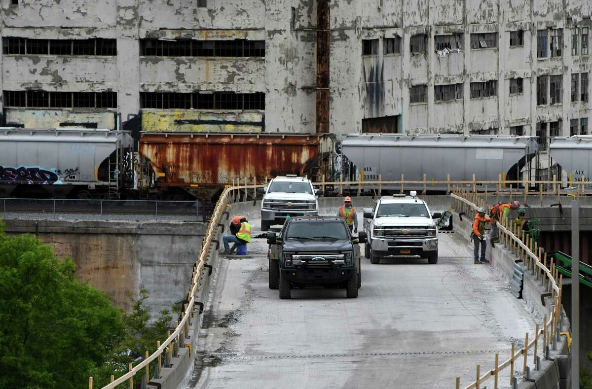 Work continues on the Albany Skyway elevated park on Friday, May 28, 2021, in Albany, N.Y. The park is transforming an underused Clinton Avenue ramp off I-787 into a landscaped multi-use park for pedestrians and cyclists that will better connect the city to its waterfront. Completion expected by year's end. (Will Waldron/Times Union)