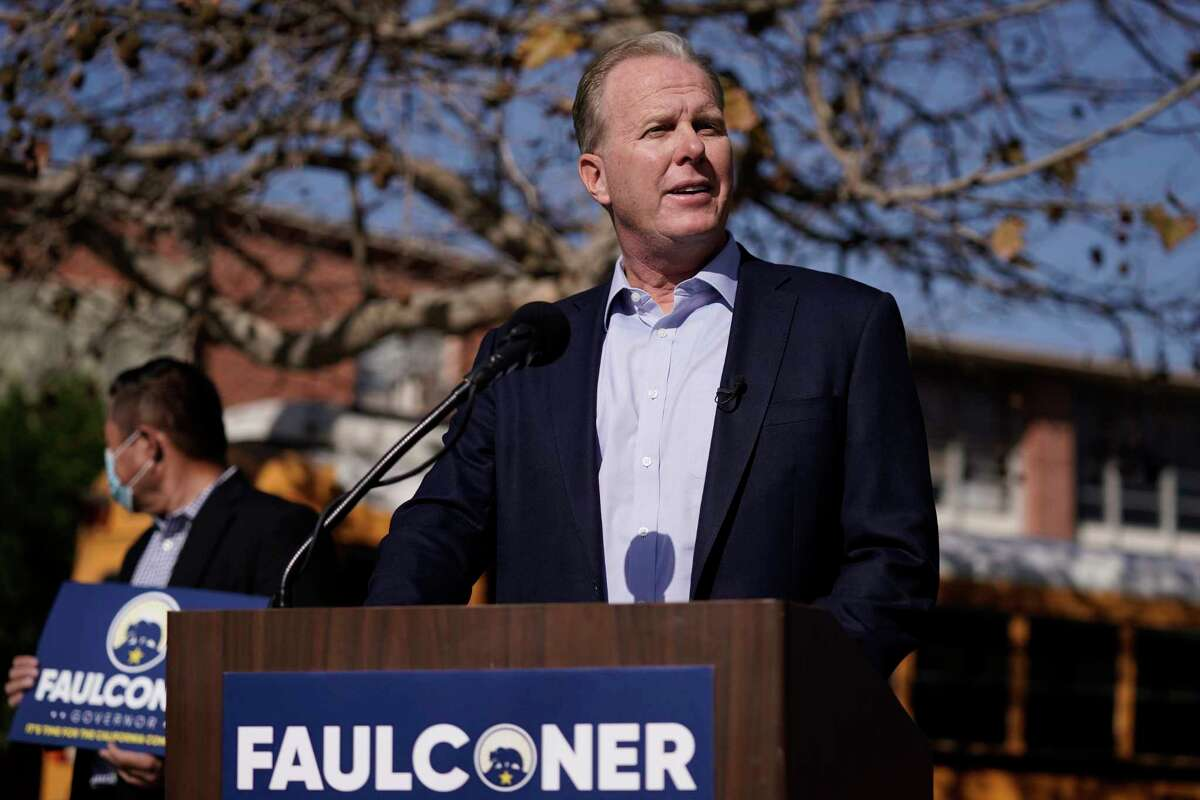 Republican gubernatorial candidate Kevin Faulconer speaks during a news conference Feb. 2, 2021, in the San Pedro section of Los Angeles.