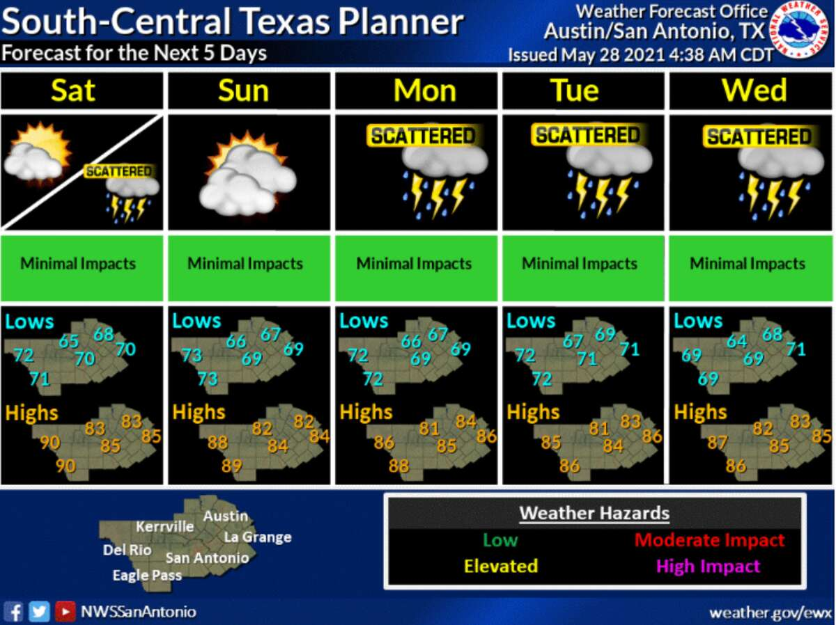 There is the potential for severe weather in San Antonio as the Memorial Day weekend kicks off, according to the National Weather Service.