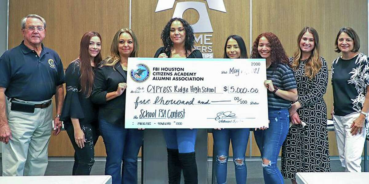 Cypress Ridge High School audio/video production students earned first place in the 2020-2021 School Public Service Announcement Video Contest. Put on through a partnership between Crime Stoppers of Houston and the FBI Houston Citizens Academy Alumni, the winning student teams were honored during an awards ceremony on May 14 at FBI Houston. Pictured, from left, are Allen Owen, FBI Houston Citizens Academy Alumni president; Julianna Galarza, Cypress Ridge senior; Raquel Briones, Cypress Ridge AVP teacher; Jaden Williams, Cypress Ridge senior; Ivette Buenrostro, Cypress Ridge senior; Sofia Garcia, Cypress Ridge senior; Jenna Fondren, Safe School Institute at Crime Stoppers of Houston manager; and Stephanie Meshell, Cypress Ridge principal.