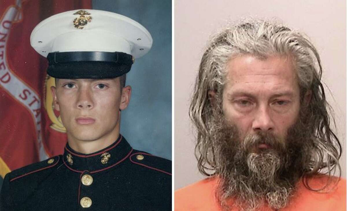 Peter Rocha when he served in the Marines, left, and after he was arrested for homicide in the killing of Leo Hainzl in May 2020. Rocha, who suffers from mental illness and has been detained without medications, was finally moved to a state psychiatric hospital where he is receiving care.
