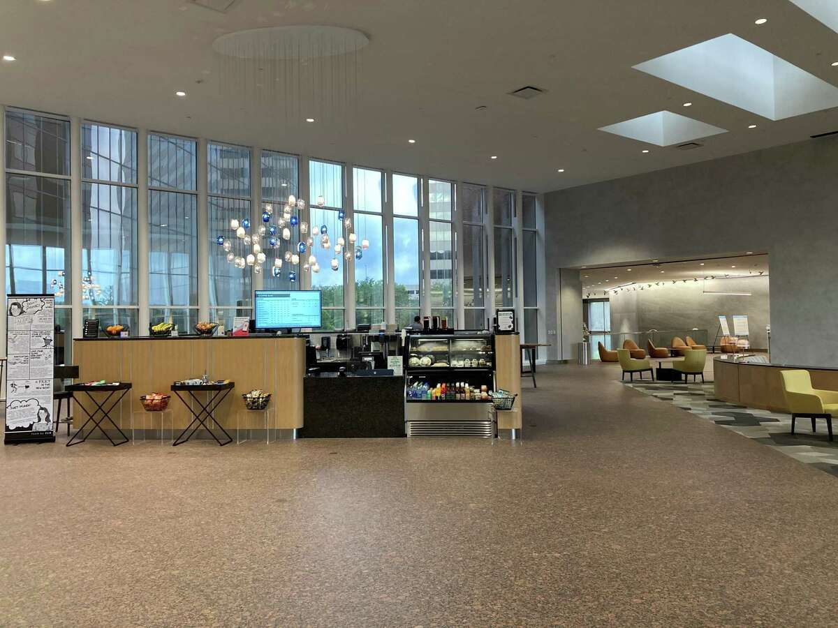 The redesigned lobby lounge at Marathon Oil Tower includes a coffee bar, new collaborative seating areas, a large media wall, Wi-Fi and art pieces from Margo Wolowiec and Michael Pendry. The building, at 5555 San Felipe, is owned by M-M Properties. CBRE handles leasing.