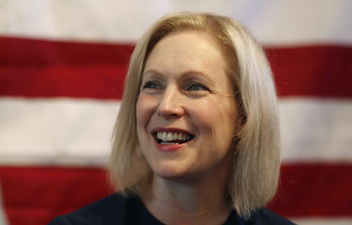 Democratic presidential candidate Sen. Kirsten Gillibrand, D-N.Y., speaks at a town hall meeting during a campaign stop in Bloomfield Hills, Mich. (AP Photo/Carlos Osorio)