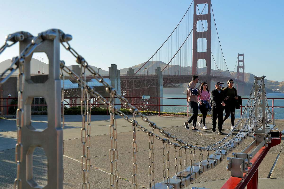 L-R, Amaan Khan, Maria Mesa, Kevin Kong, and Samah Khan, of Houston, walk in the vista point near the Golden Gate bridge completing a vacation they planned and had to cancel a year ago because of COVID-19, in San Francisco, Calif., on Monday, May 24, 2021. Tourism has begun to pick up again in San Francisco in advance of the travel season as the city's reopening has offered people the chance to visit with little fear of infection of COVID-19.