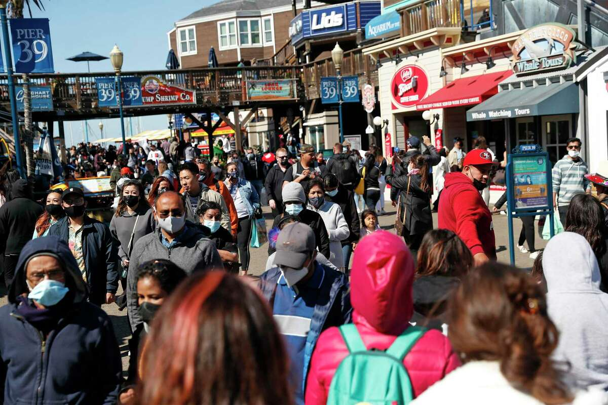 Pier 39 is filled with visitors in San Francisco, Calif., on Sunday, May 23, 2021.