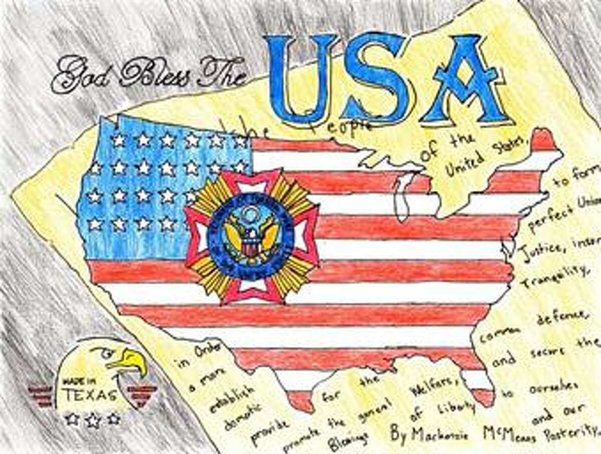 Katy Elementary third grader Mackenzie McMeans won first place in the Texas Veterans of Foreign Wars Illustrated America contest for this piece, which is currently being judged for the national contest. Mackenzie's art teacher is Jennifer Mabray.