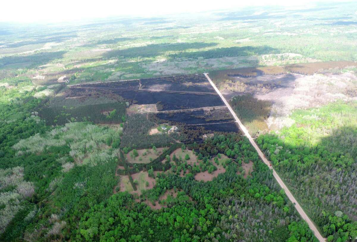 An aerial shot taken Wednesday over the area of the Colfax Fire in Wexford County shows the burned area which totals about 378 acres. (Courtesy photo/Michigan Department of Natural Resources)