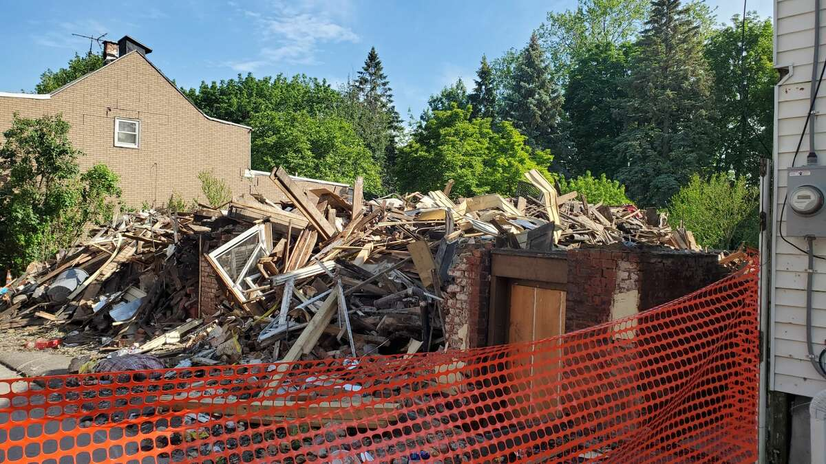 Homes at 344 and 346 Sheridan Avenue were razed after a devastating fire on March 23, 2021. One was the longtime home of Linda Becker and Albany historian John Wolcott.
