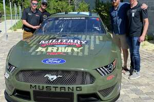 One of 4 cars Biohaven has decorated to honor fallen military members. This one, for the Army, has the name of Capt. Andrew M. Pedersen-Keel, who died during his military service in Afghanistan.