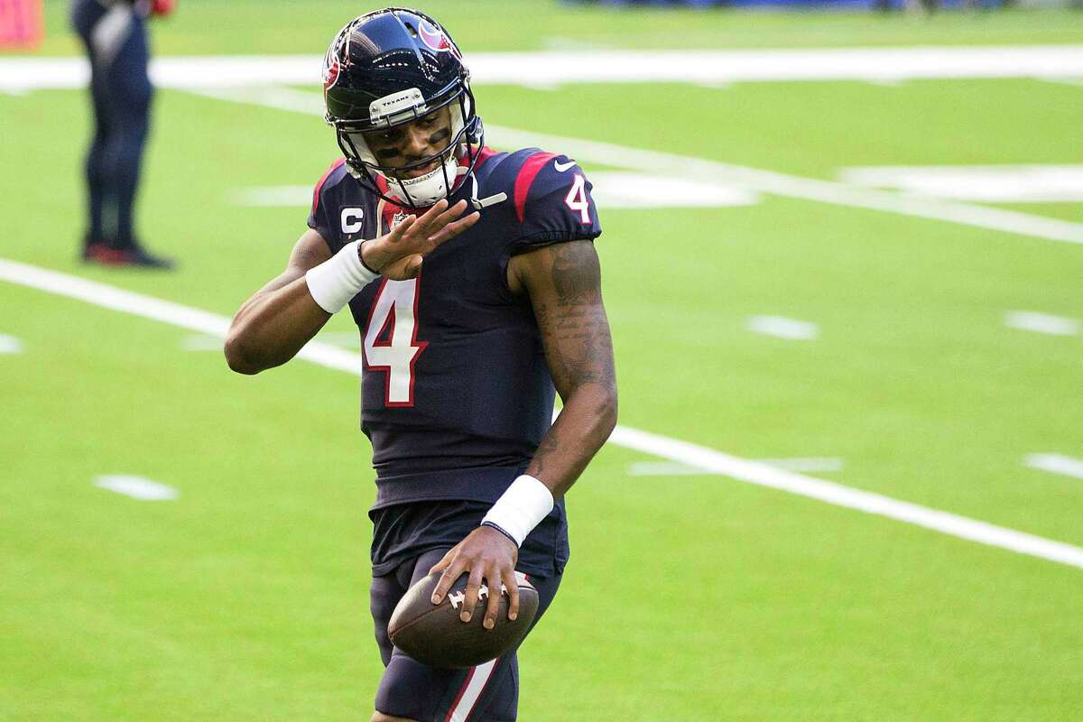 Houston Texans quarterback Deshaun Watson (4) warms up before an NFL football game at NRG Stadium on Sunday, Jan. 3, 2021, in Houston.