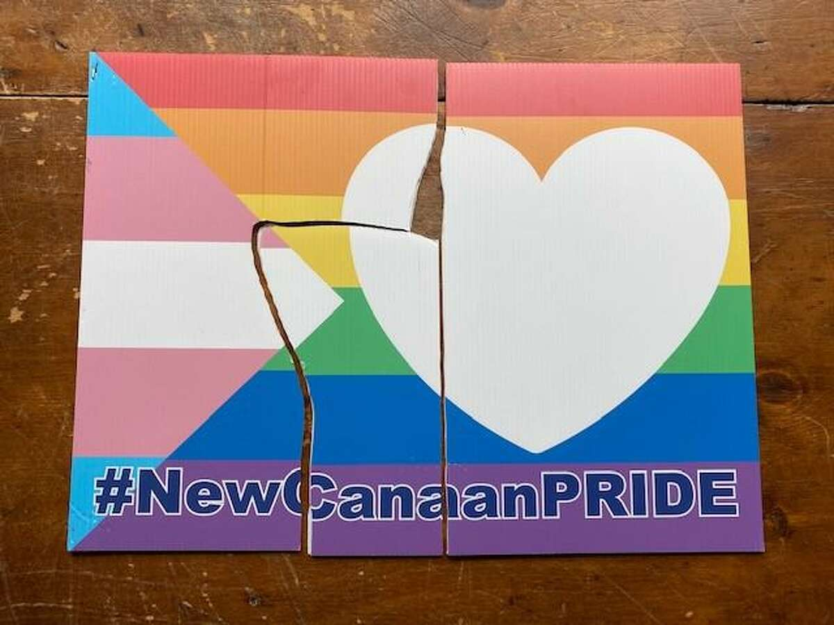This gay pride sign, to commemorate June as Pride month, was taken from a lawn and torn up on Friday, May 28, 2021, according to town Councilman Tom Butterworth.