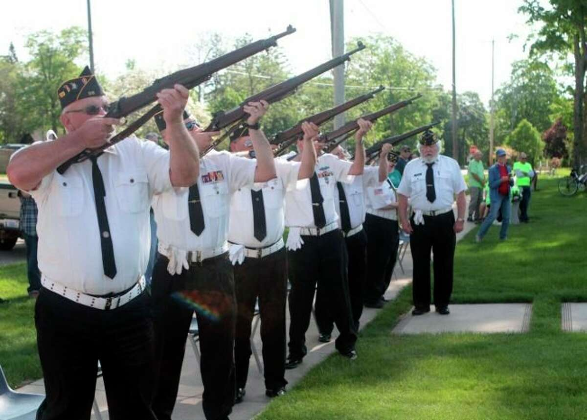 In this Pioneer file photo, the American Legion Post No. 98 Honor Guard performed a gun salute during the 2019 Memorial Day ceremony at the Mecosta County Courthouse.