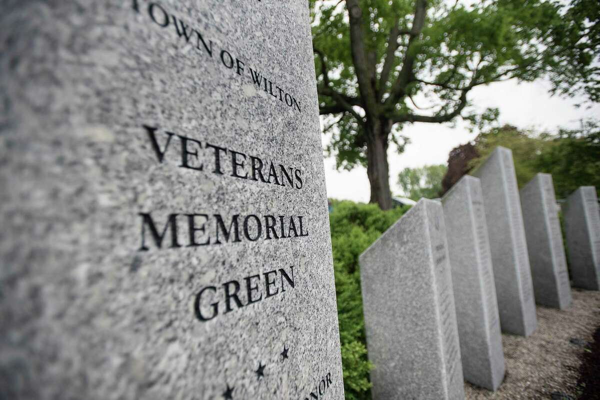 The stone pillars of the Veterans Memorial Green honor Wilton military service members who died defending their country.