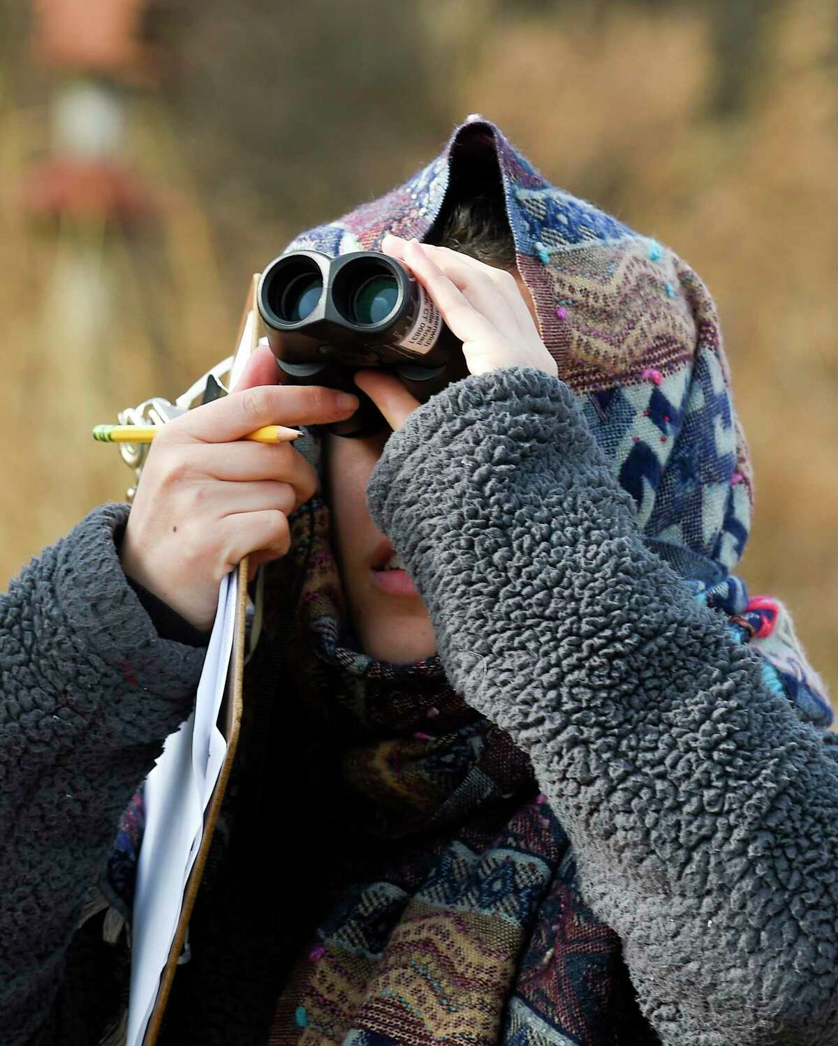 Allison Villa of Bethel participates in the Great Backyard Bird Count at the Greenwich Audubon Center on Feb 15, 2020 in Greenwich.