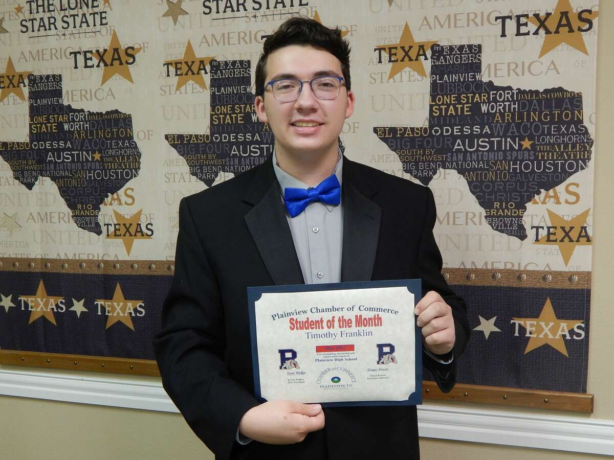 Plainview High School's 2021 Salutatorian Timothy Franklin was named Student of the Month for May by the Plainview Chamber of Commerce.