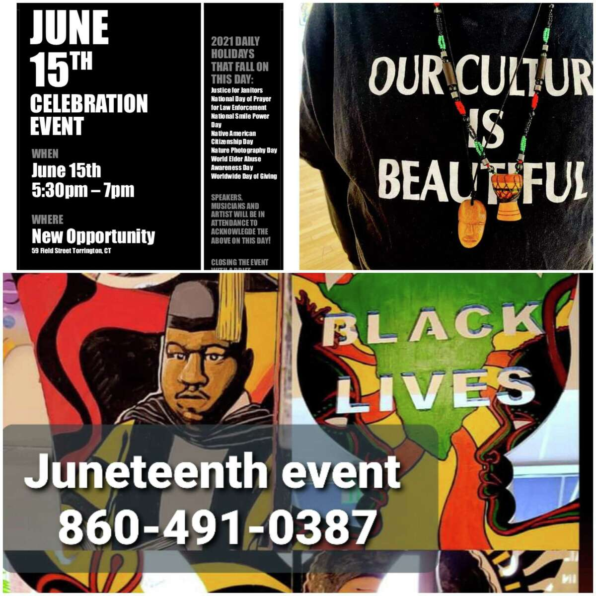 Residents and members of a cultural group, Our Culture is Beautiful, are holding events June 15 in Torrington.