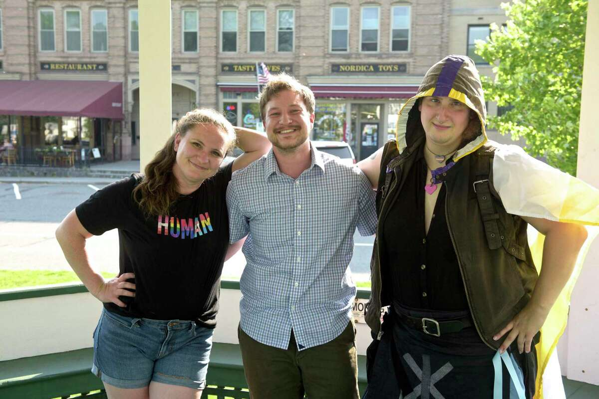 Lauren Burke, of Gaylordsville, Adam Murphy, of New Milford, and Dez Noa Volnixshin, of New Milford, have planned a Pride picnic to be held on the town green on June 12 of this year. Wednesday, May 26, 2021, in New Milford, Conn.