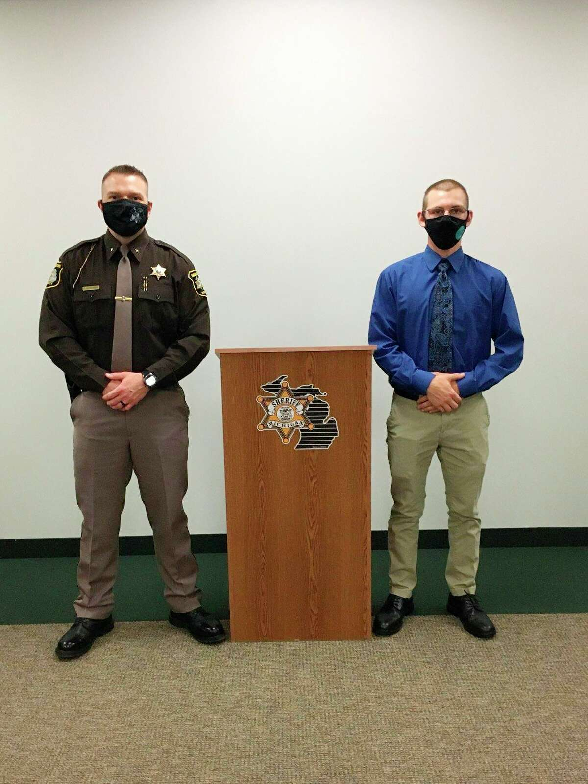 Brendan Cook (right) stands near Manistee County Sheriff Brian Gutowski during an orientation for the Manistee County Sheriff's Office's new apprenticeship program that started this month.(Courtesy photo)