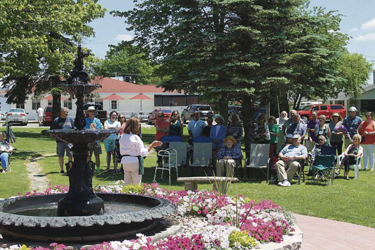 The fountain at Onekama's Village Park has a rich history. It was once one of a pair that was placed in front of the Manistee County Courthouse in 1887. Following a fire it was relocated to the park in 1950. It was refurbished in 2019.