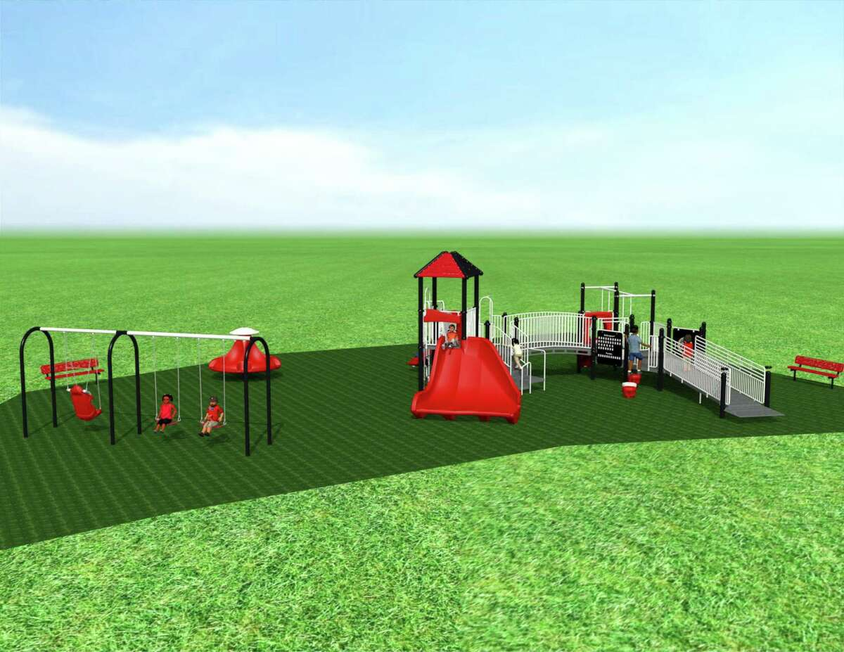 """CT-based Creative Recreation devised an inclusive, ADA-compliant playground with a wide variety of cooperative play experiences. The design includes a Ten Spin, an arched swing set with an inclusive seat and equipment that stimulates different sensory systems. It also features a wheelchair ramp and """"cozy corners"""" to accommodate children of all needs."""