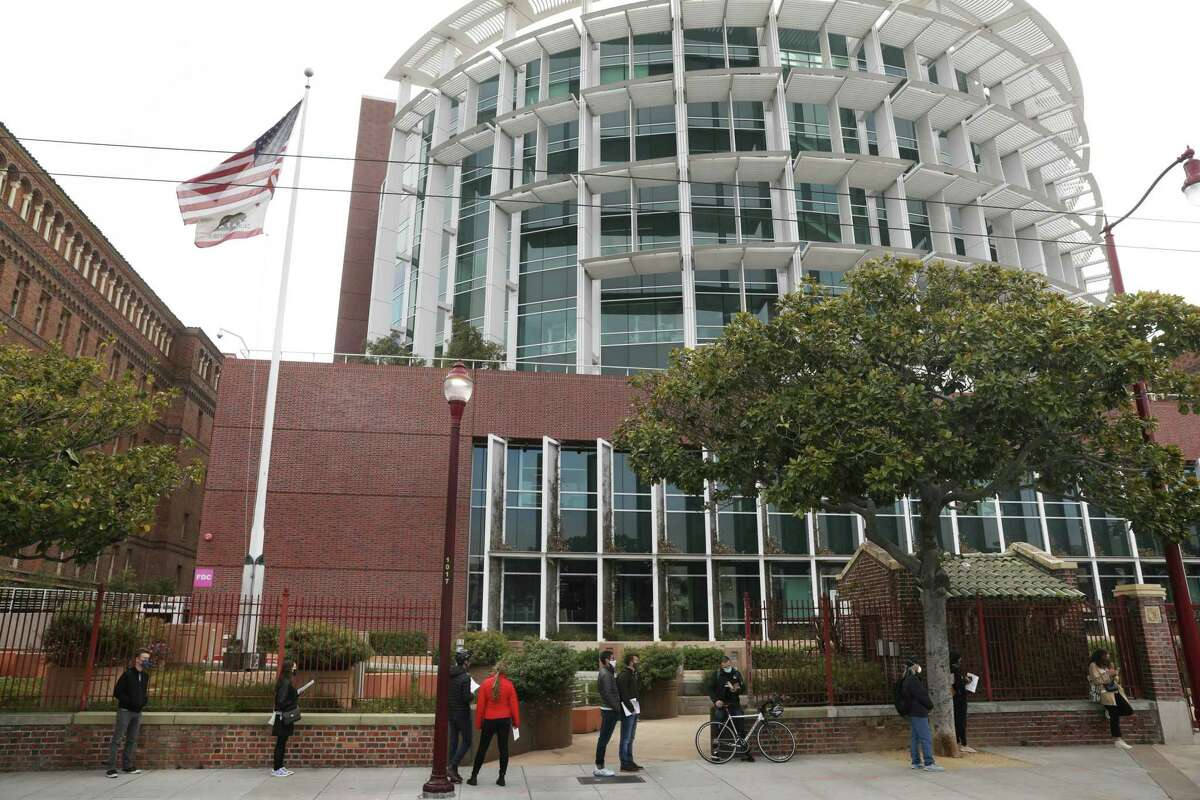 Due to a state order, all San Francisco employees who routinely work in high-risk settings had to be fully vaccinated by Sept. 30. Those settings include clinics, nursing homes and Zuckerberg General Hospital, shown in April.