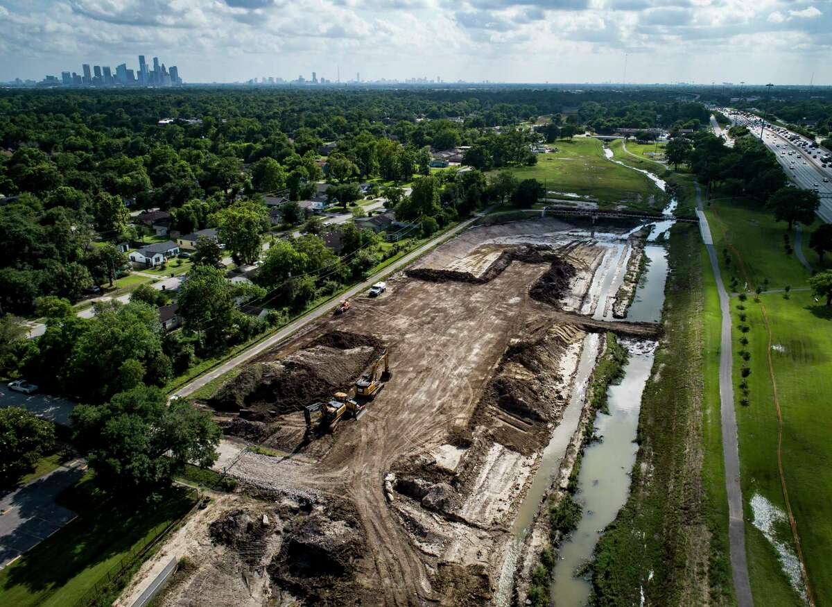 The Harris County Flood Control District continues to work on projects including the Hunting Bayou Federal Flood Risk Management Project seen here just south of Hutcheson Park along Interstate 610 east of Lockwood Drive in Houston, Thursday, May 27, 2021.