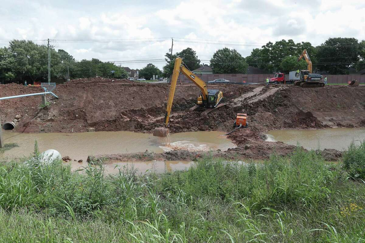 Mud Gully Improvements - Part of the Clear Creek Federal Project Thursday, May 27, 2021, in Houston.