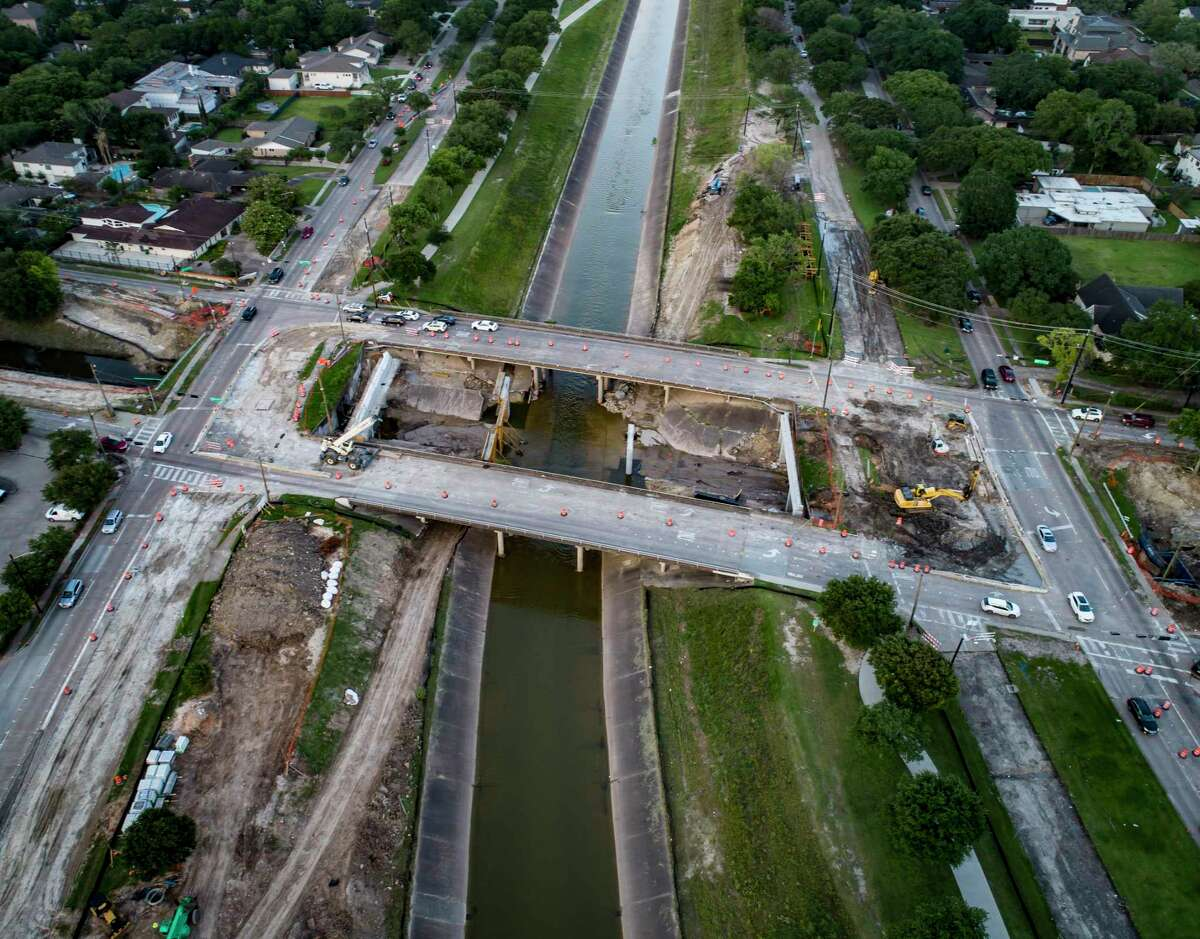 The Harris County Flood Control District continues to work on projects including the Brays Bayou Federal Project at Chimney Rock Road in southwest Houston, Thursday, May 27, 2021.