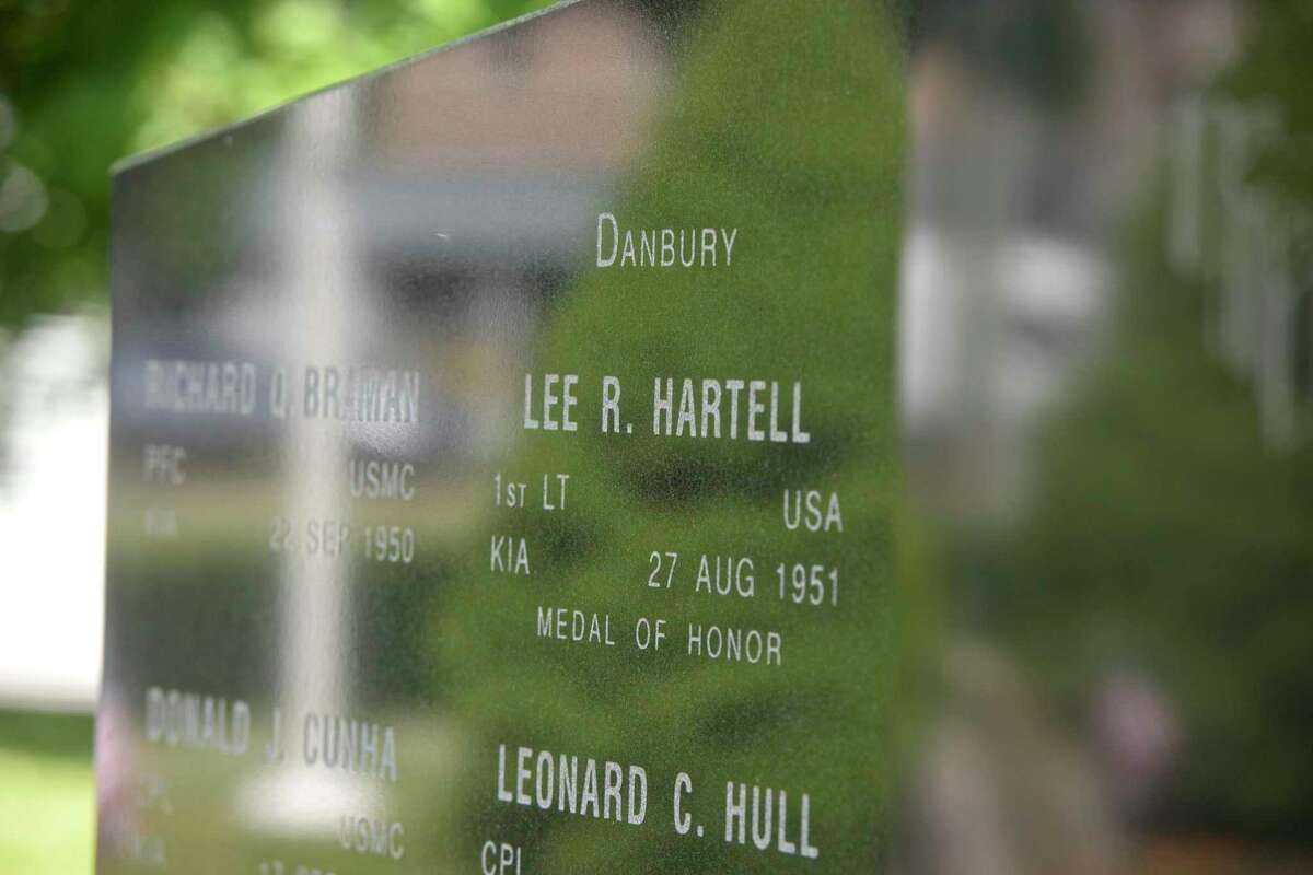 First Lt. Lee Hartell is the only Danbury resident since the Civil War to recieve the Congressional Medal of Honor. Thursday, May 27, 2021, in Danbury, Conn. His name is listed on a memorial at the War Memorial building in Danbury.