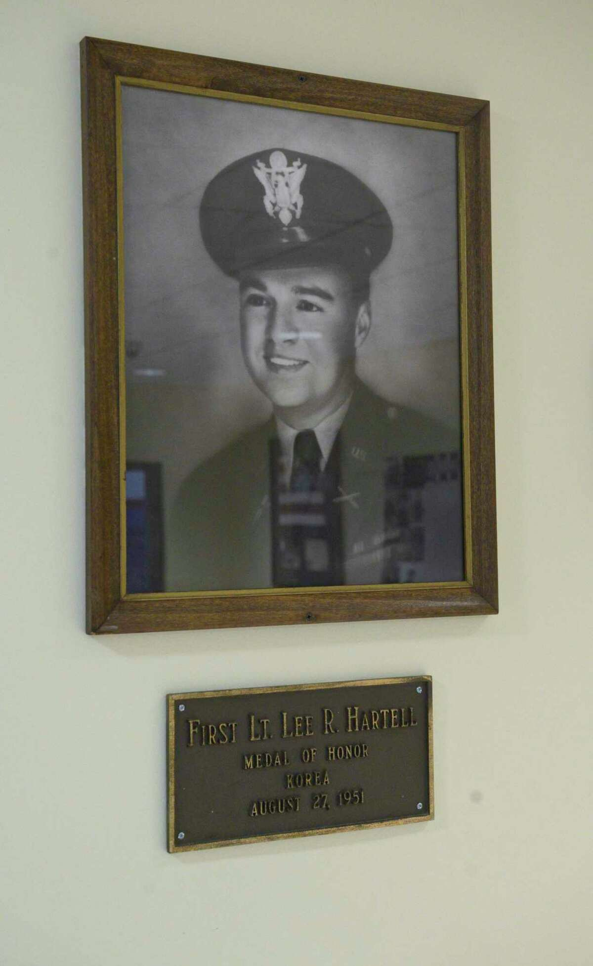 A photograph of First Lt. Lee Hartell, the only Danbury resident since the Civil War to recieve the Congressional Medal of Honor, in the lobby of the War Memorial building. Thursday, May 27, 2021, in Danbury, Conn.