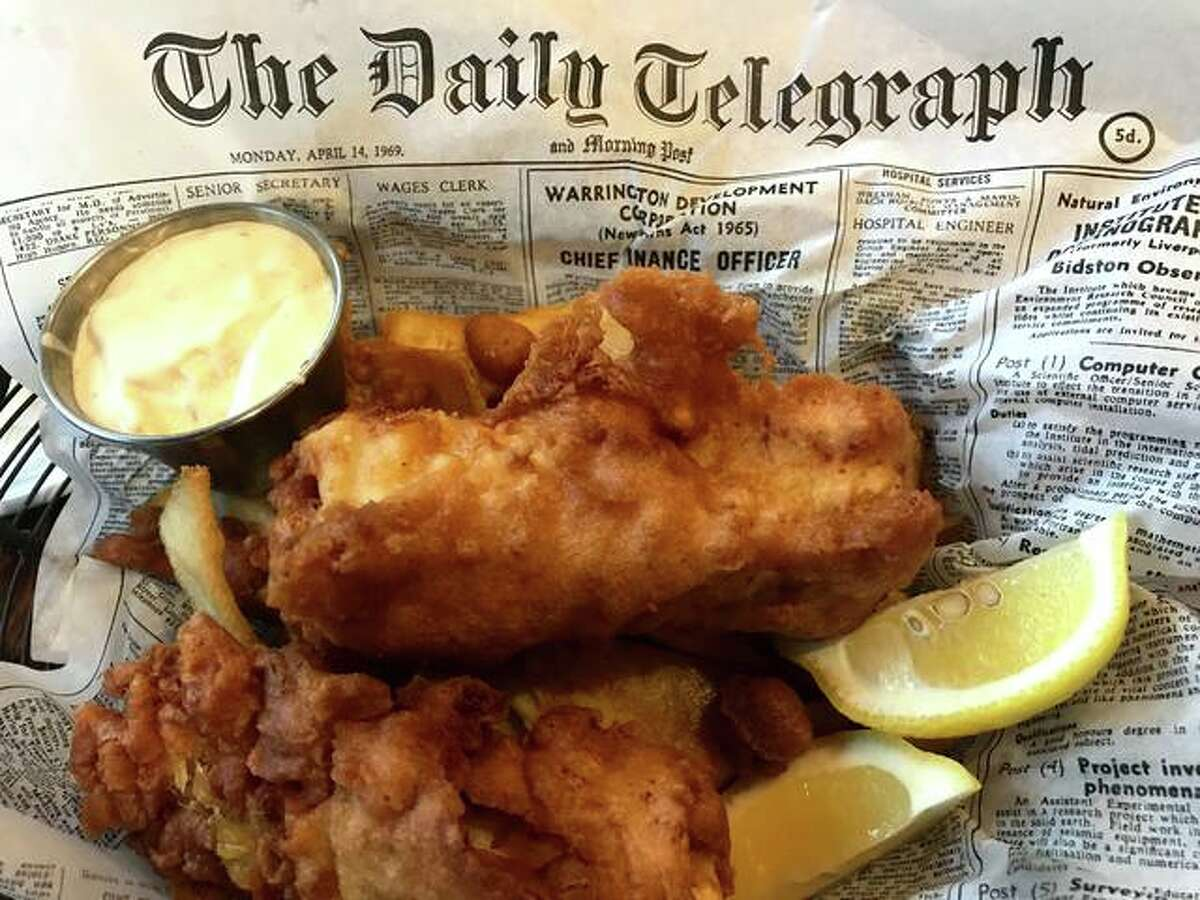 Great Rivers Tap and Grill's battered cod, with a pickle, red onion and tartar sauce.
