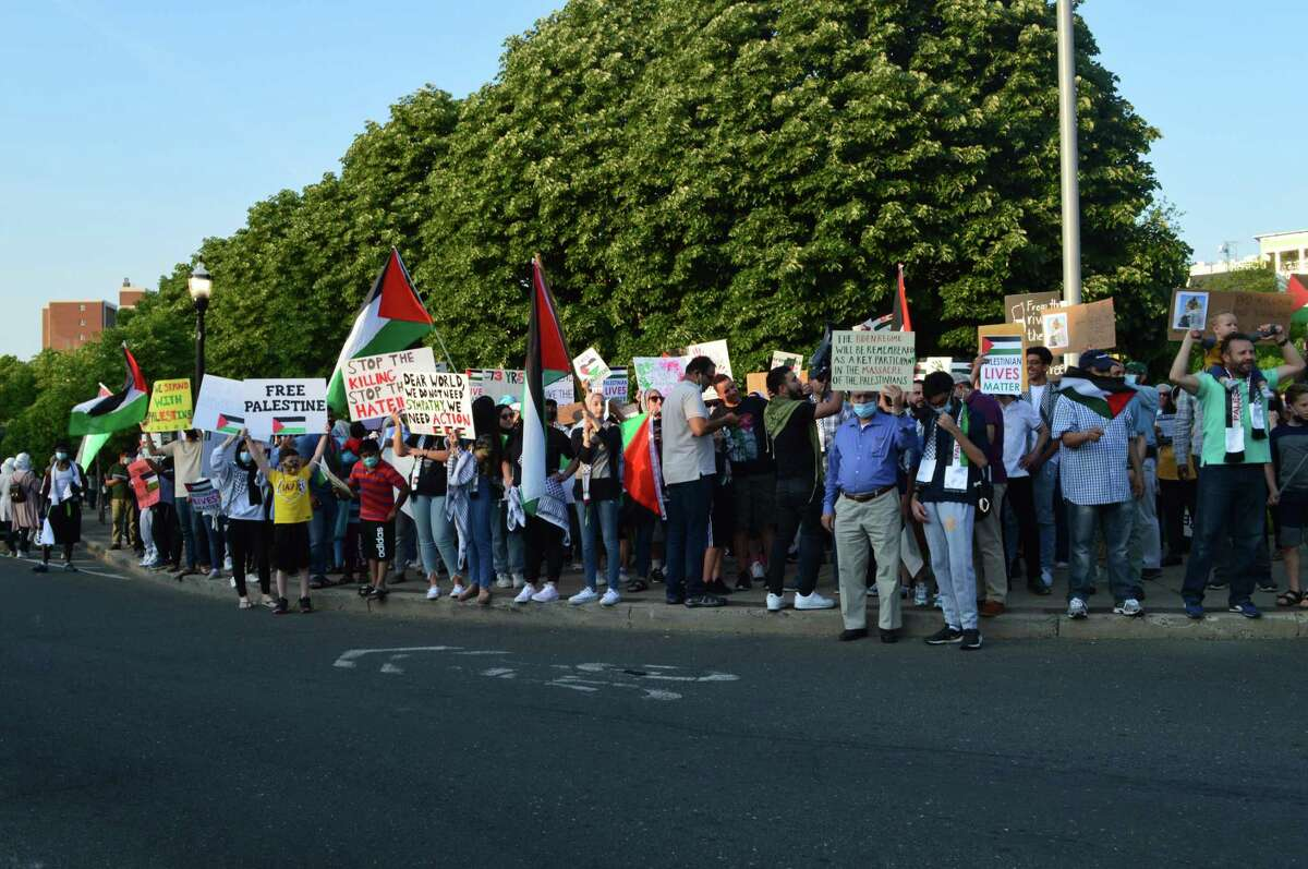 More than 100 demonstrators took to the streets of Stamford on May 19 in support of the Palestinian cause.