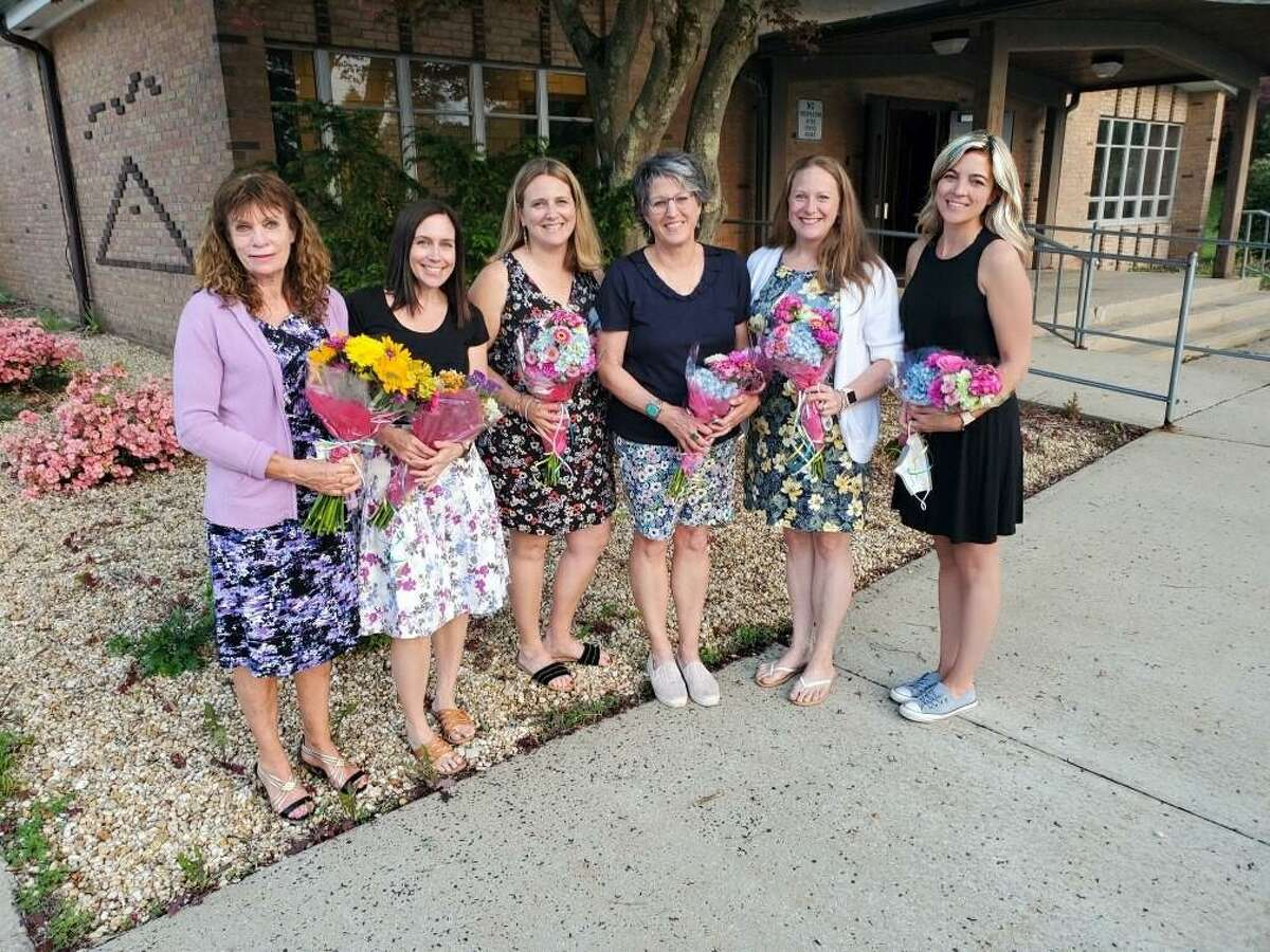 School nurses, left to right, Judy Lambert, Lauren Reynolds, Jessica Sciammana, Theresa Hellauer and Karen Kellogg and district nursing supervisor and COVID-19 liaison Adrianna Collins were honored at the Board of Education meeting Wednesday, May 26. Mayor Mark Lauretti offered proclamations to all the city's school nurses for their efforts during the past year during the pandemic.